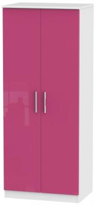 Knightsbridge High Gloss Pink and White Wardrobe - 2ft 6in Plain