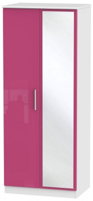 Knightsbridge High Gloss Pink and White Wardrobe - 2ft 6in with Mirror