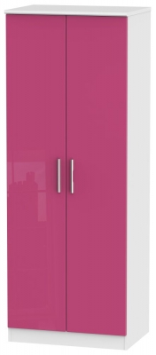 Knightsbridge High Gloss Pink and White Wardrobe - Tall 2ft 6in Double Hanging