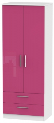 Knightsbridge High Gloss Pink and White Wardrobe - Tall 2ft 6in with 2 Drawer