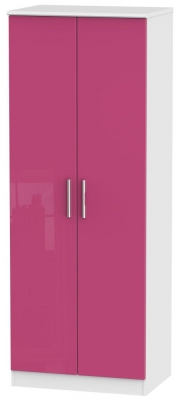 Knightsbridge High Gloss Pink and White Wardrobe - Tall 2ft 6in with Plain