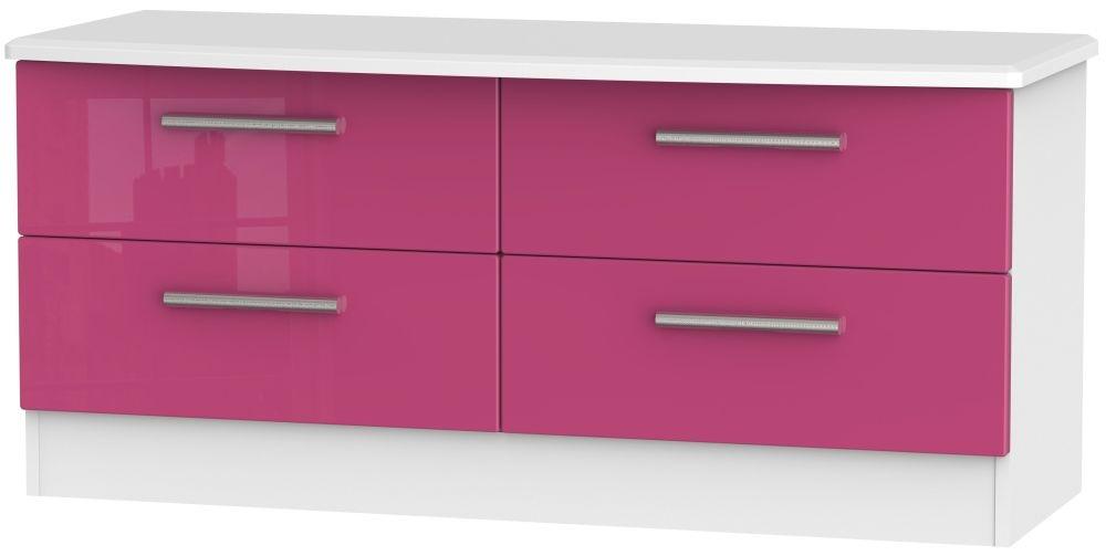 Knightsbridge High Gloss Pink and White Bed Box - 4 Drawer