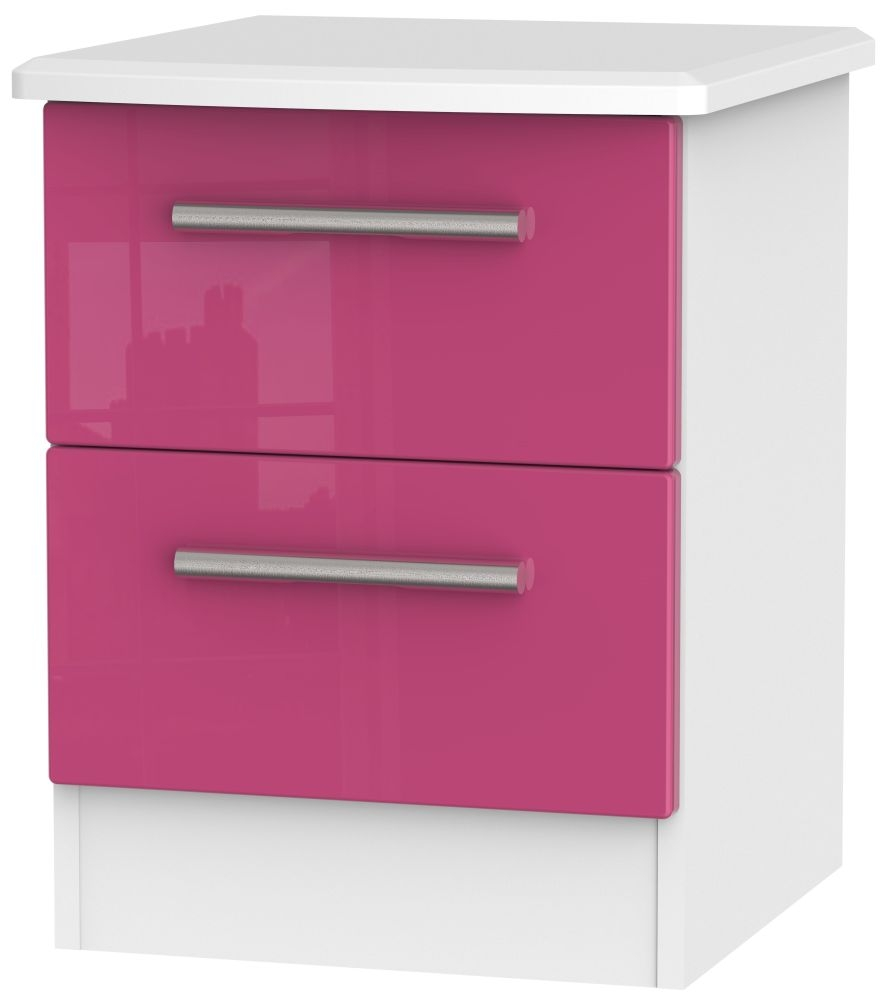 Knightsbridge High Gloss Pink and White Bedside Cabinet - 2 Drawer Locker