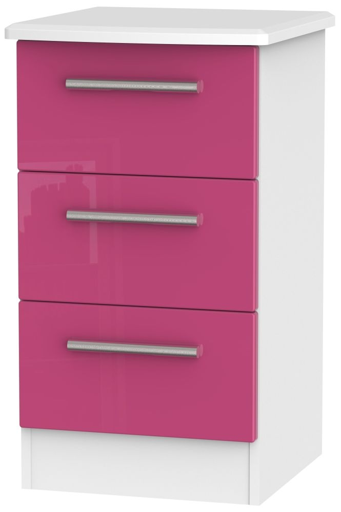 Knightsbridge High Gloss Pink and White Bedside Cabinet - 3 Drawer Locker