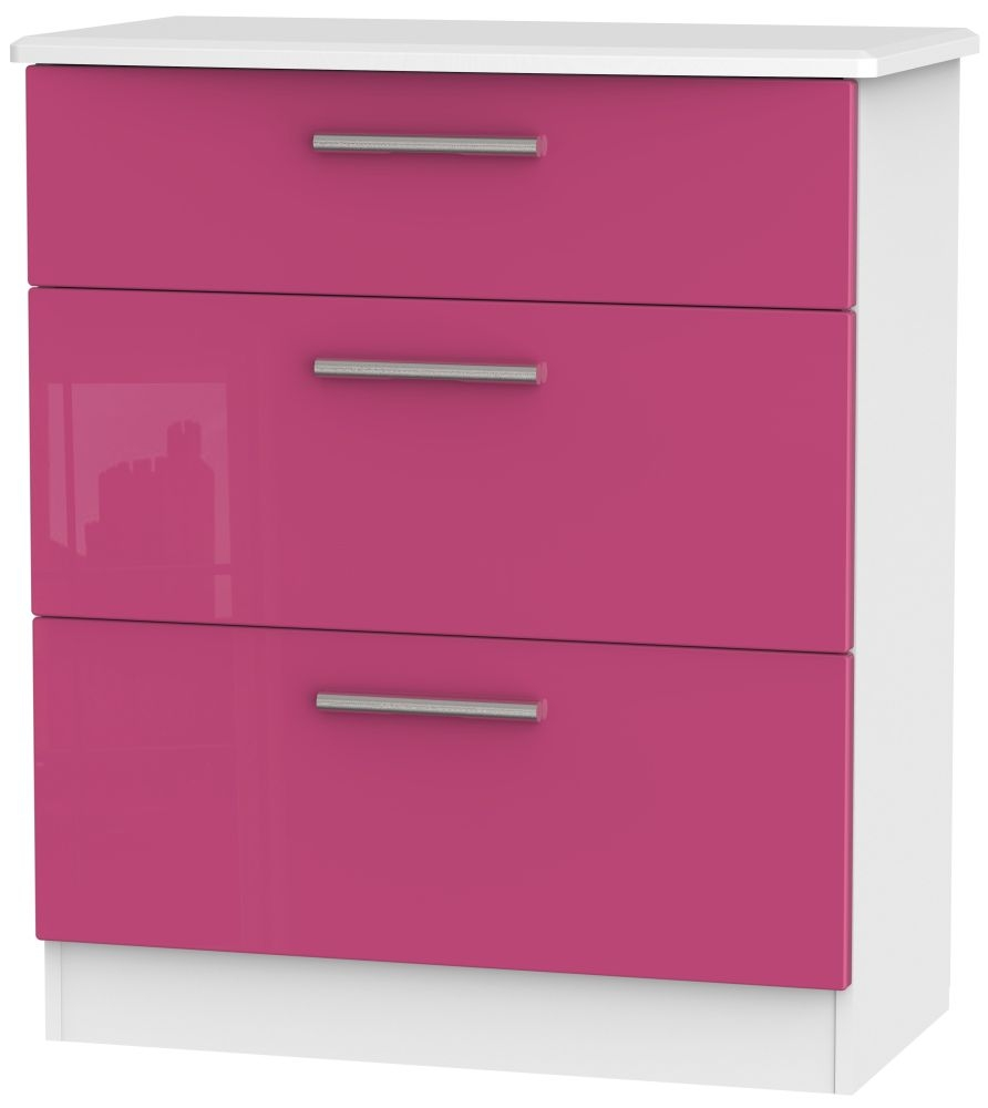 Knightsbridge High Gloss Pink and White Chest of Drawer - 3 Drawer Deep