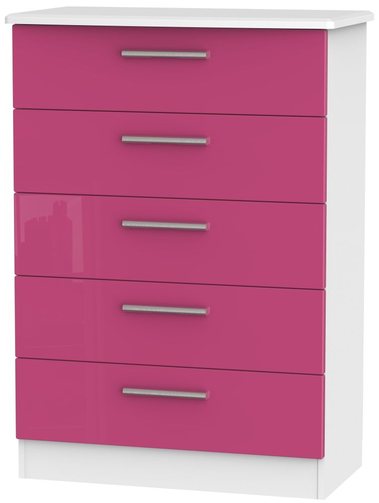 Knightsbridge 5 Drawer Chest - High Gloss Pink and White
