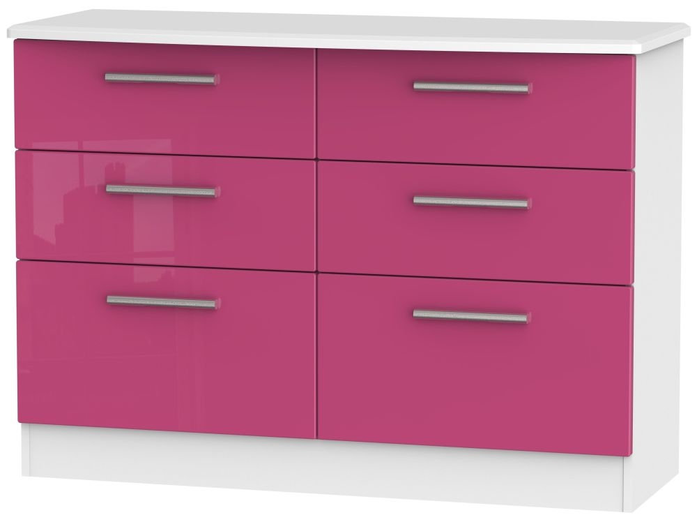 Knightsbridge High Gloss Pink and White Chest of Drawer - 6 Drawer Midi