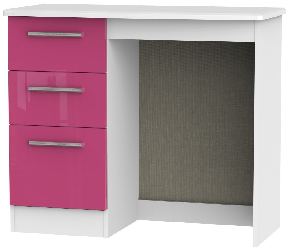 Knightsbridge High Gloss Pink and White Dressing Table - Vanity Knee Hole