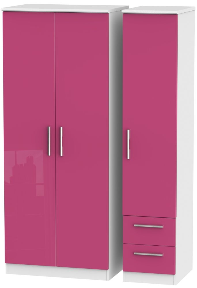 Knightsbridge High Gloss Pink and White Triple Wardrobe - Plain with 2 Drawer
