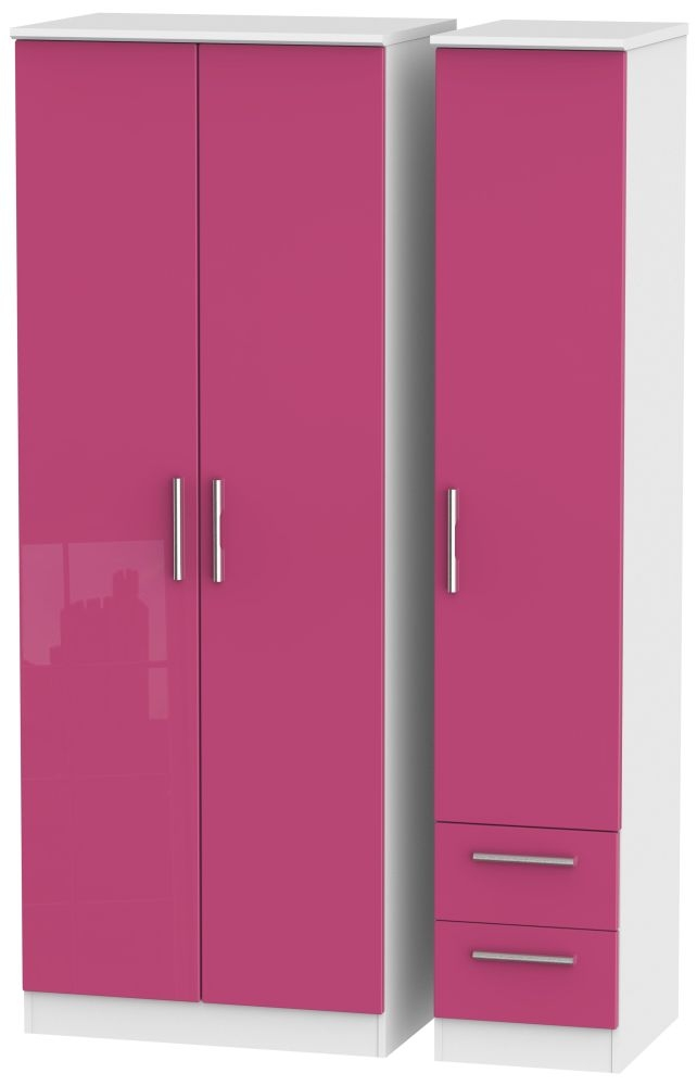 Knightsbridge High Gloss Pink and White Triple Wardrobe - Tall Plain with 2 Drawer