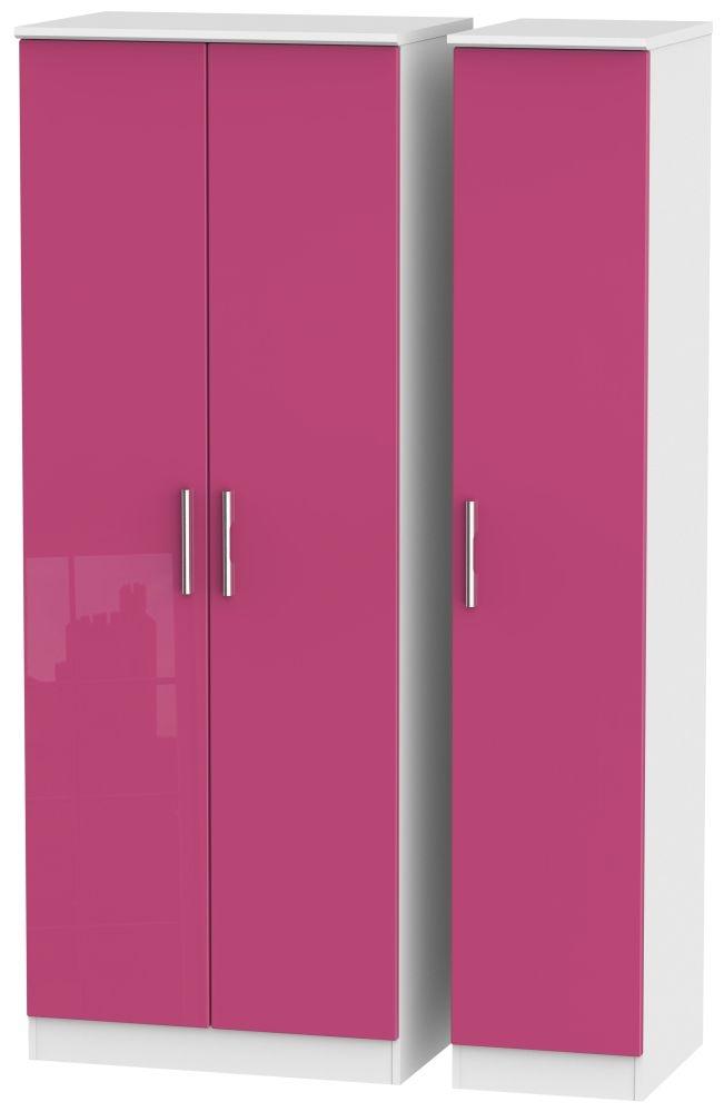 Knightsbridge High Gloss Pink and White Triple Wardrobe - Tall Plain