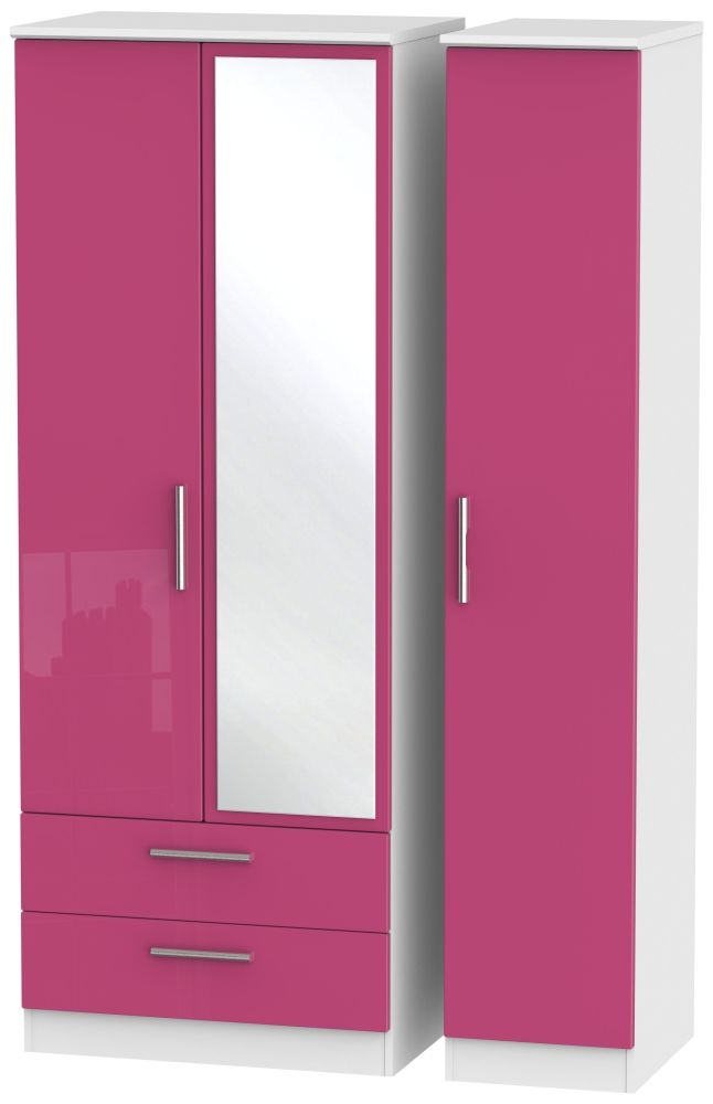 Knightsbridge High Gloss Pink and White Triple Wardrobe - Tall with 2 Drawer and Mirror