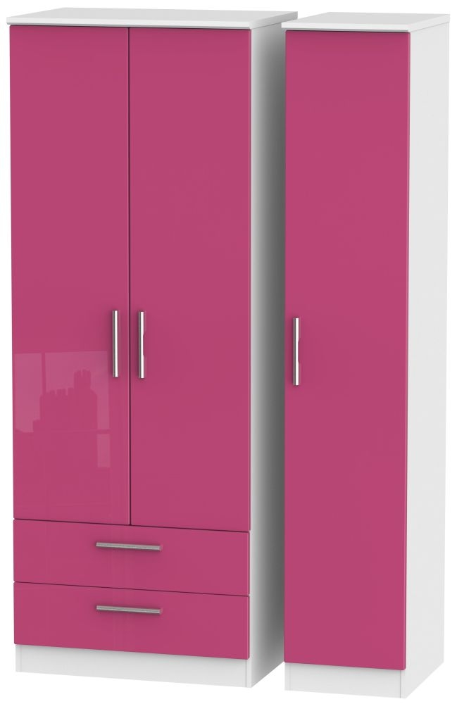 Knightsbridge High Gloss Pink and White Triple Wardrobe - Tall with 2 Drawer