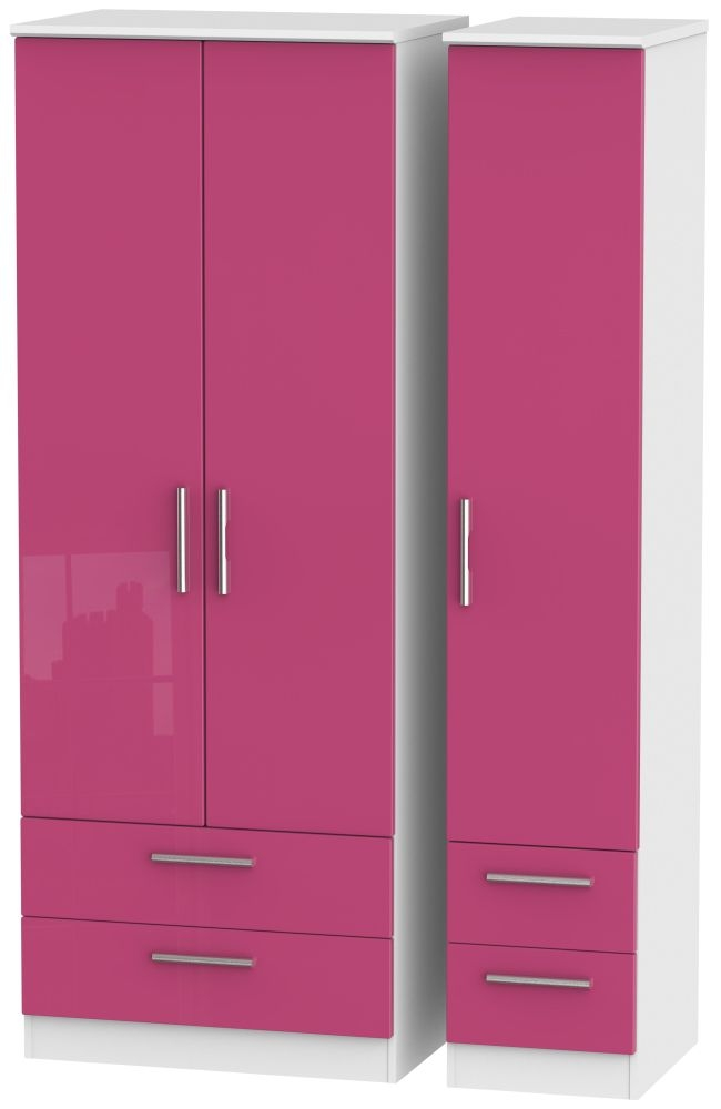 Knightsbridge High Gloss Pink and White Triple Wardrobe - Tall with Drawer