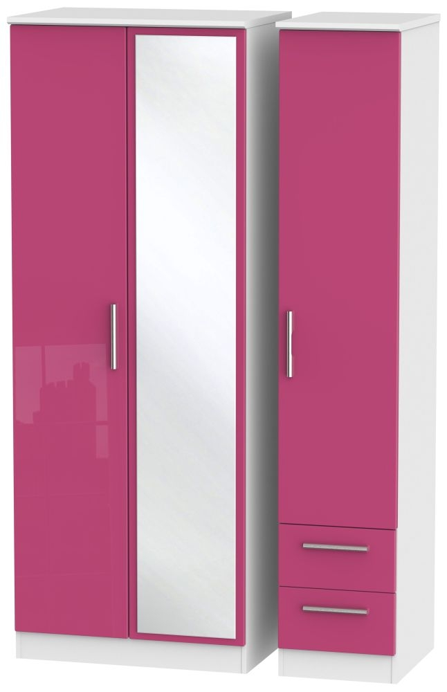 Knightsbridge High Gloss Pink and White Triple Wardrobe - Tall with Mirror and 2 Drawer