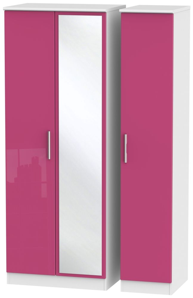 Knightsbridge High Gloss Pink and White Triple Wardrobe - Tall with Mirror