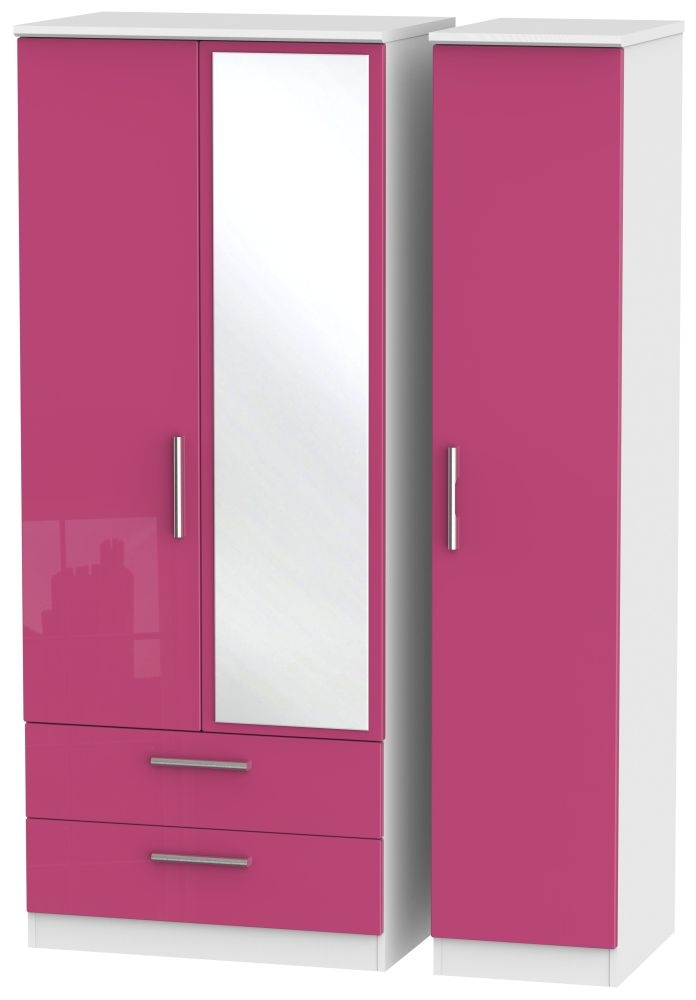 Knightsbridge High Gloss Pink and White Triple Wardrobe with 2 Drawer and Mirror