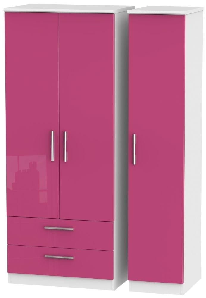 Knightsbridge High Gloss Pink and White Triple Wardrobe with 2 Drawer