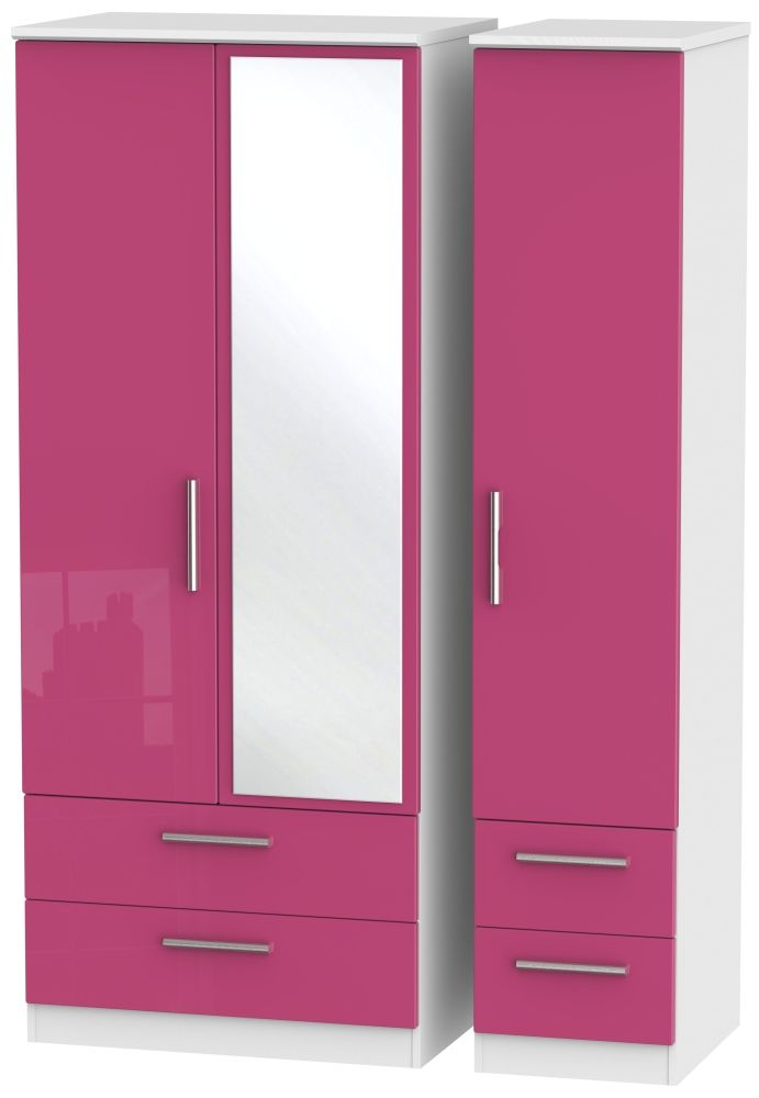 Knightsbridge High Gloss Pink and White Triple Wardrobe with Drawer and Mirror