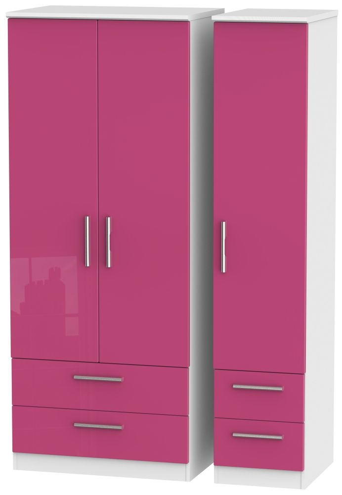 Knightsbridge High Gloss Pink and White Triple Wardrobe with Drawer