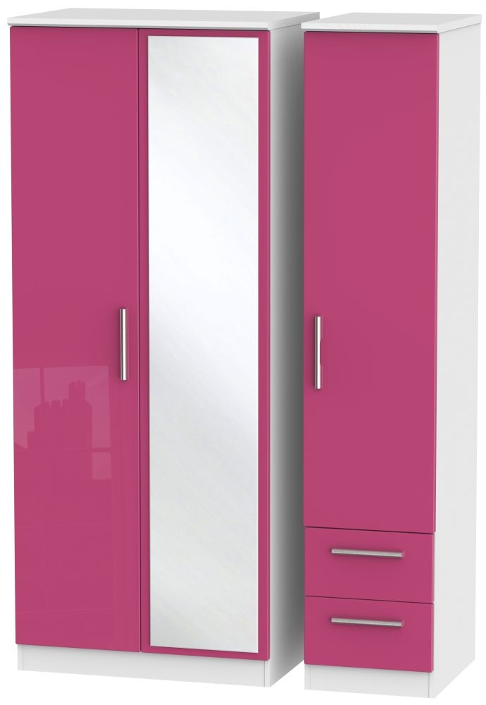 Knightsbridge High Gloss Pink and White Triple Wardrobe with Mirror and 2 Drawer