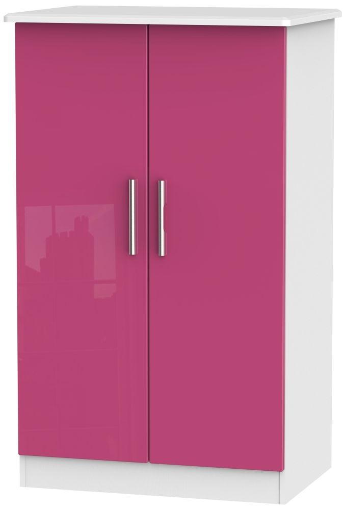 Knightsbridge High Gloss Pink and White 2 Door Plain Midi Wardrobe