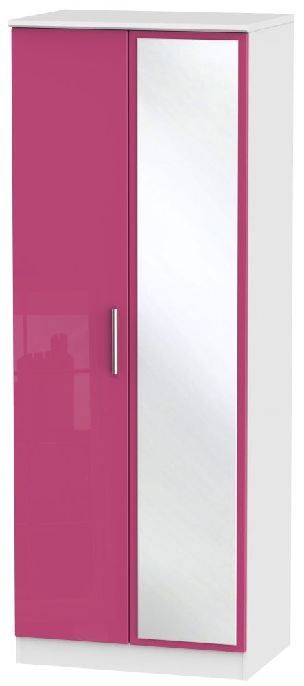 Knightsbridge High Gloss Pink and White Wardrobe - Tall 2ft 6in with Mirror
