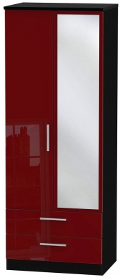 Knightsbridge Ruby Wardrobe - Tall 2ft 6in with 2 Drawer and Mirror