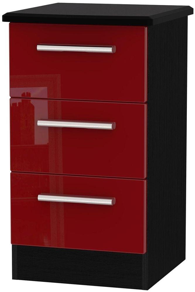 Knightsbridge Ruby Bedside Cabinet - 3 Drawer Locker
