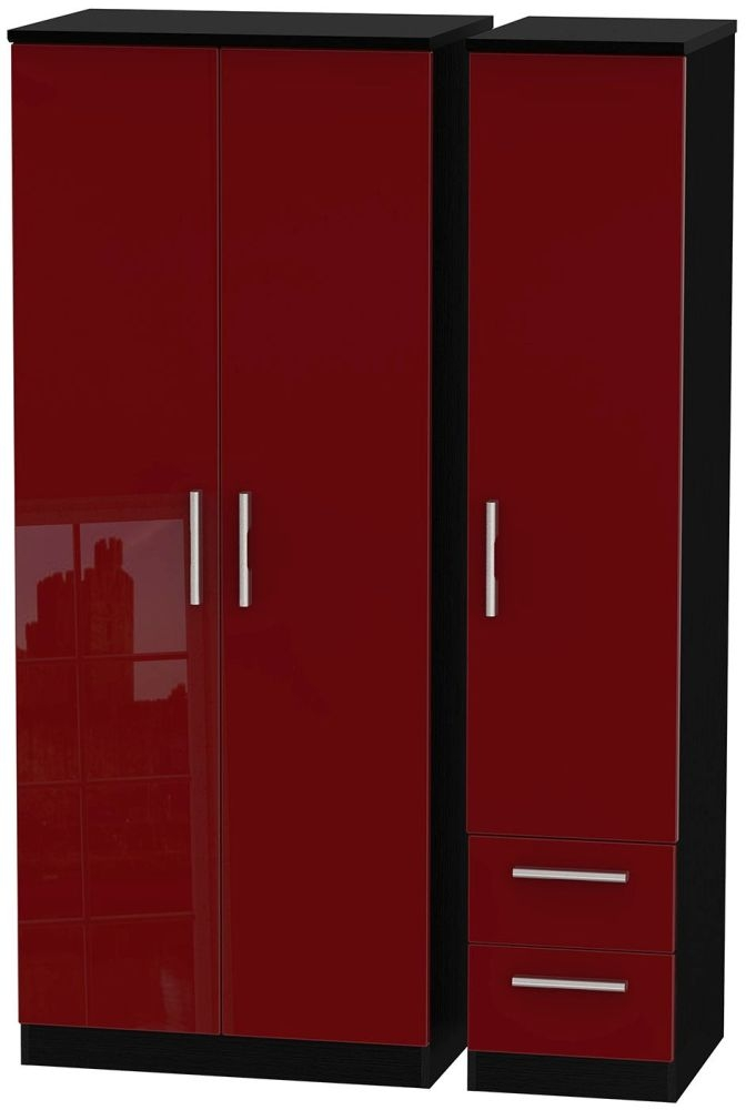 Knightsbridge Ruby Triple Wardrobe - Plain with 2 Drawer