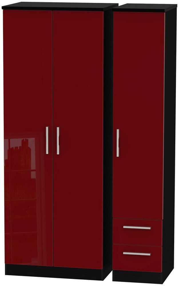 Knightsbridge Ruby Triple Wardrobe - Tall Plain with 2 Drawer