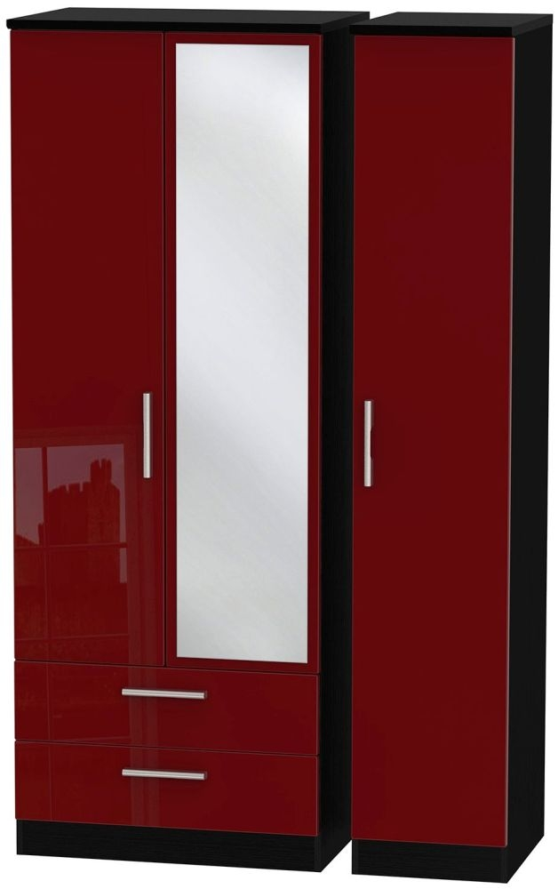 Knightsbridge Ruby Triple Wardrobe - Tall with 2 Drawer and Mirror