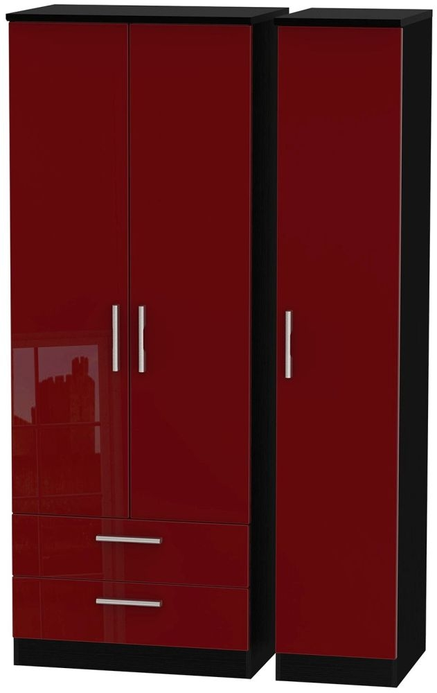 Knightsbridge Ruby Triple Wardrobe - Tall with 2 Drawer