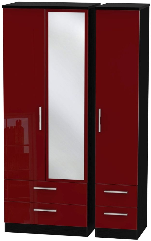 Knightsbridge Ruby Triple Wardrobe - Tall with Drawer and Mirror