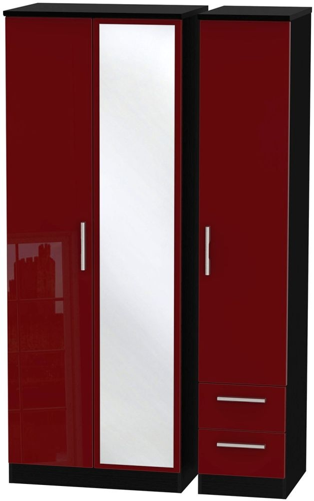Knightsbridge Ruby Triple Wardrobe - Tall with Mirror and 2 Drawer