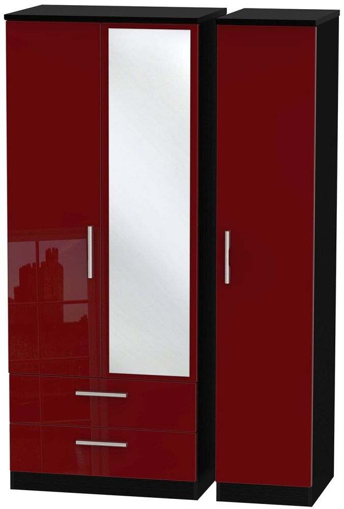 Knightsbridge Ruby Triple Wardrobe with 2 Drawer and Mirror