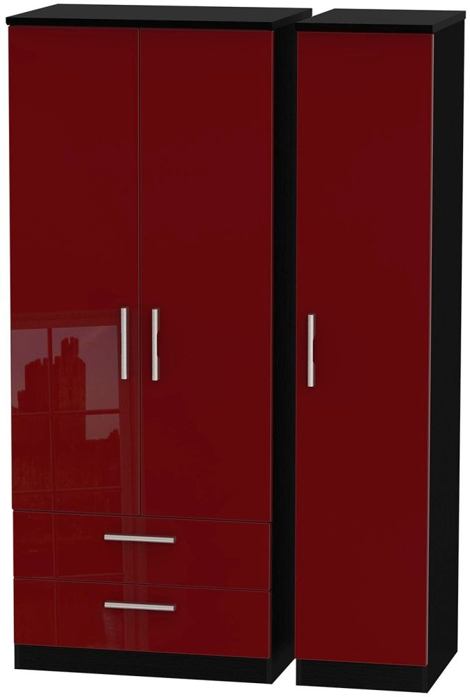 Knightsbridge Ruby Triple Wardrobe with 2 Drawer