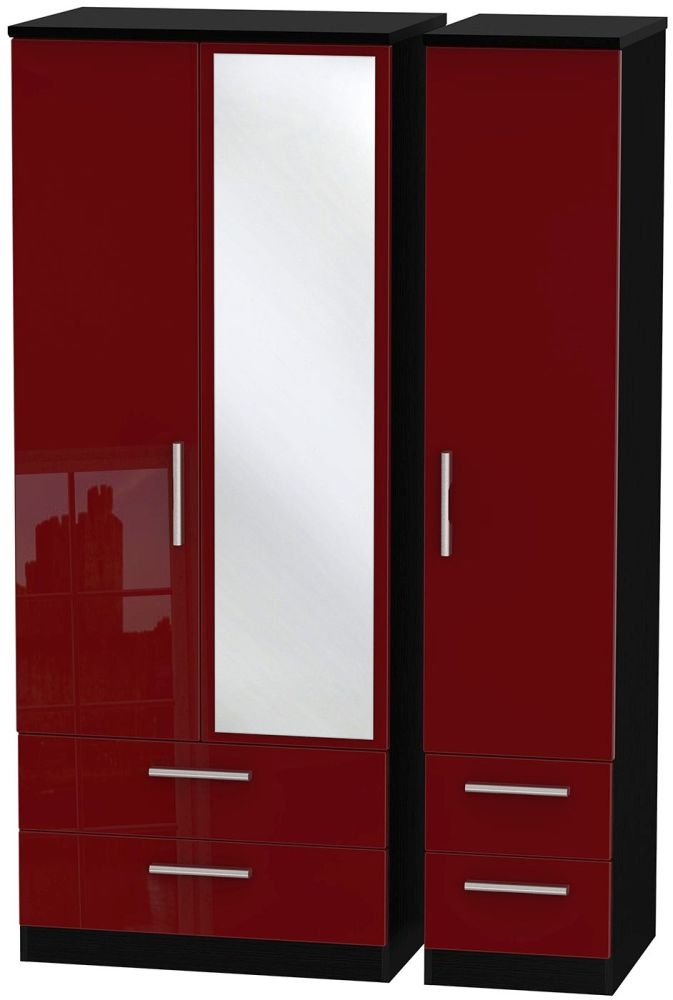 Knightsbridge Ruby Triple Wardrobe with Drawer and Mirror