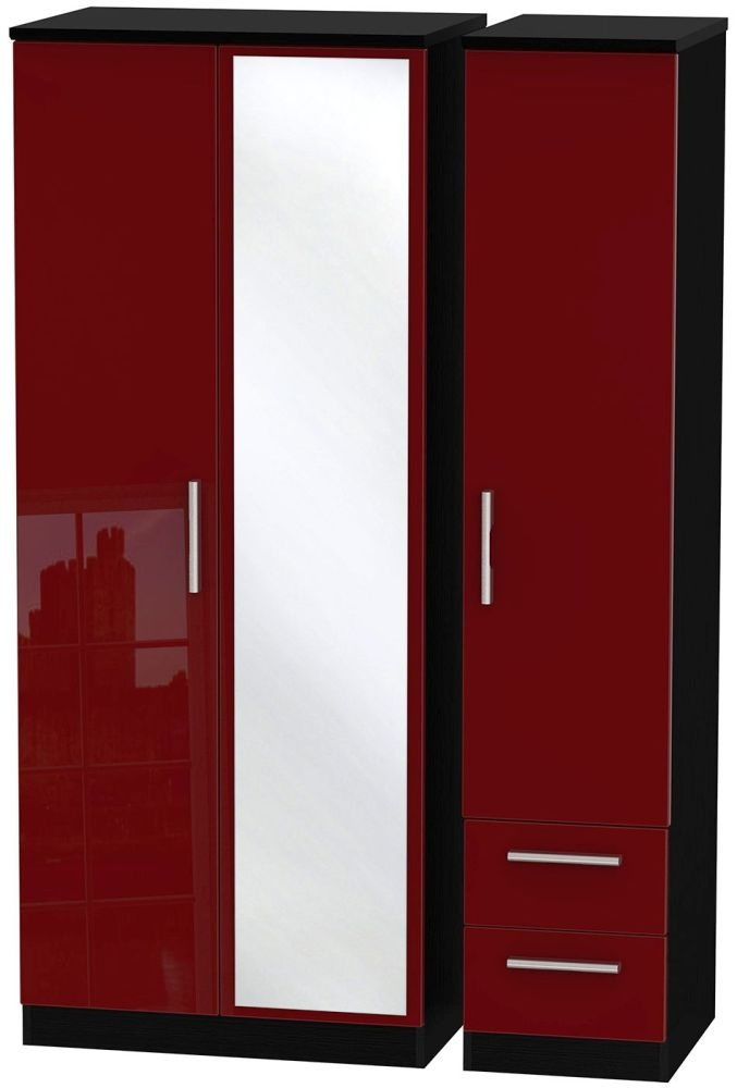 Knightsbridge Ruby Triple Wardrobe with Mirror and 2 Drawer