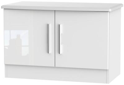 Knightsbridge High Gloss White 2 Door Low Unit