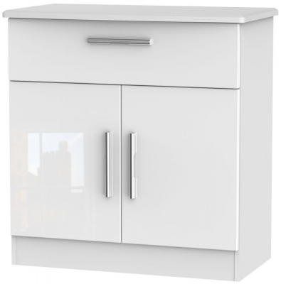 Knightsbridge High Gloss White 2 Door 1 Drawer Narrow Sideboard