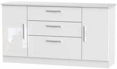 Knightsbridge High Gloss White 2 Door 3 Drawer Wide Sideboard