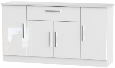 Knightsbridge High Gloss White 4 Door 1 Drawer Wide Sideboard