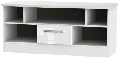Knightsbridge High Gloss White 1 Drawer Open TV Unit