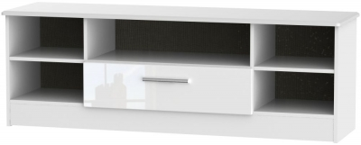 Knightsbridge High Gloss White 1 Drawer Wide Open TV Unit