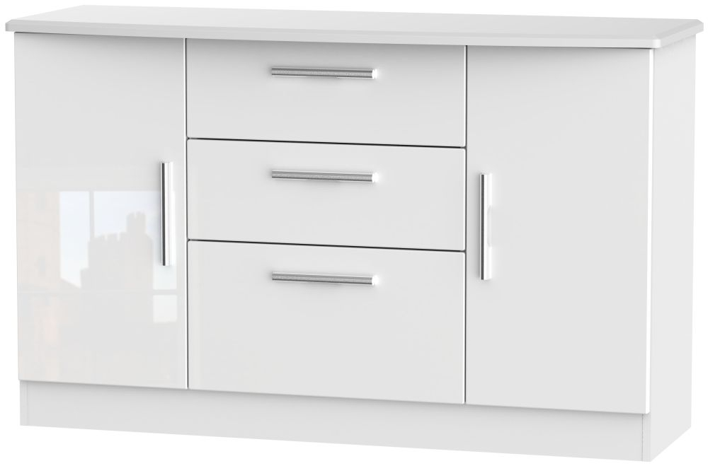 Knightsbridge High Gloss White 2 Door 3 Drawer Sideboard