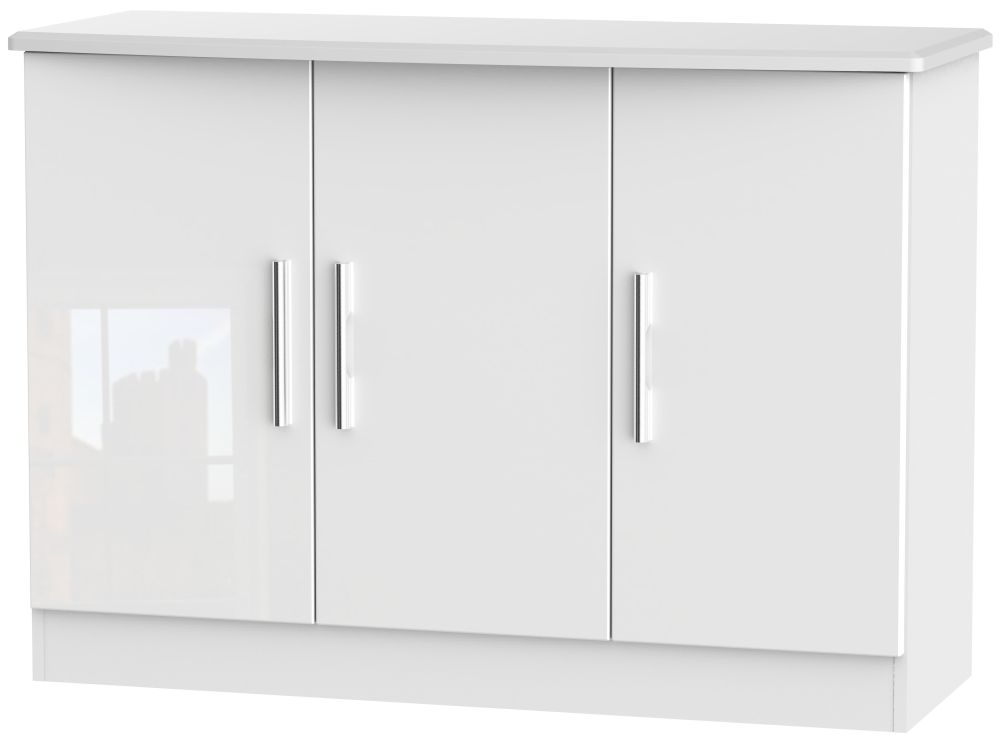 Knightsbridge High Gloss White 3 Door Narrow Sideboard