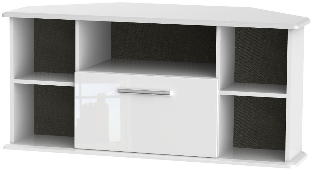 Knightsbridge High Gloss White 1 Drawer Corner TV Unit