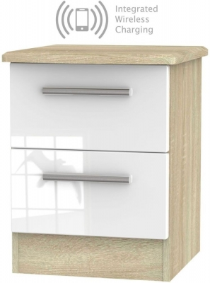 Knightsbridge 2 Drawer Bedside Cabinet with Integrated Wireless Charging - High Gloss White and Bardolino