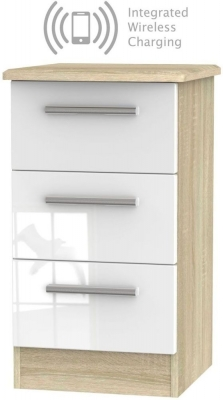 Knightsbridge 3 Drawer Bedside Cabinet with Integrated Wireless Charging - High Gloss White and Bardolino